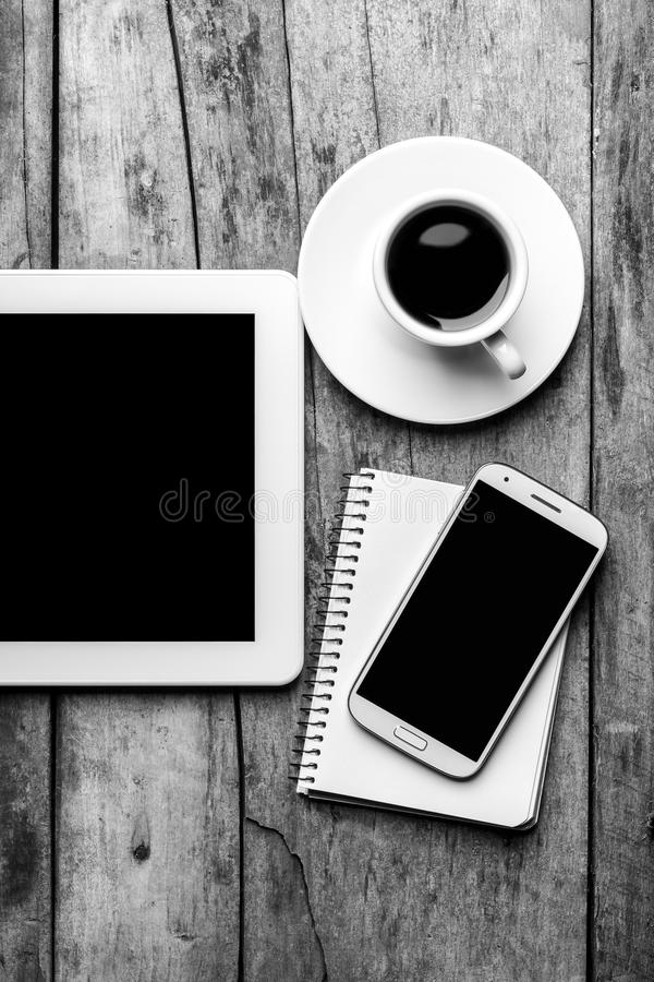Mock up of mobile workplace. stock image