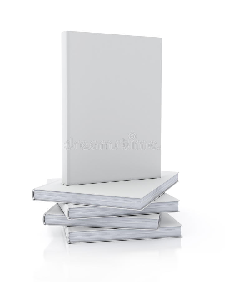 Mock up model of blank book standing on pile of books isolated on white background vector illustration