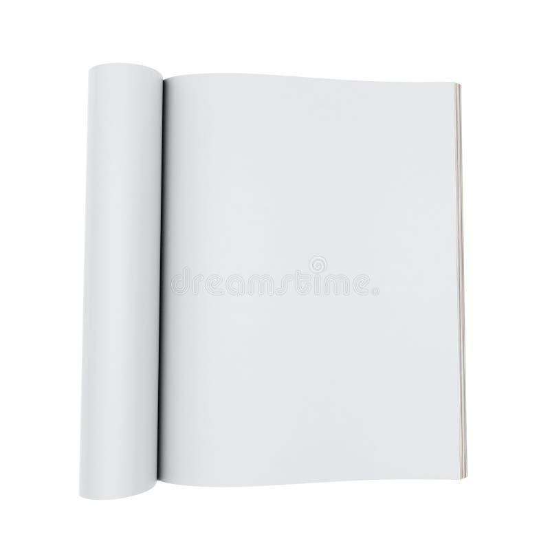 Mock up model of blank opened magazines isolated on white background. 3d model of blank opened magazines isolated on white background, template design stock illustration