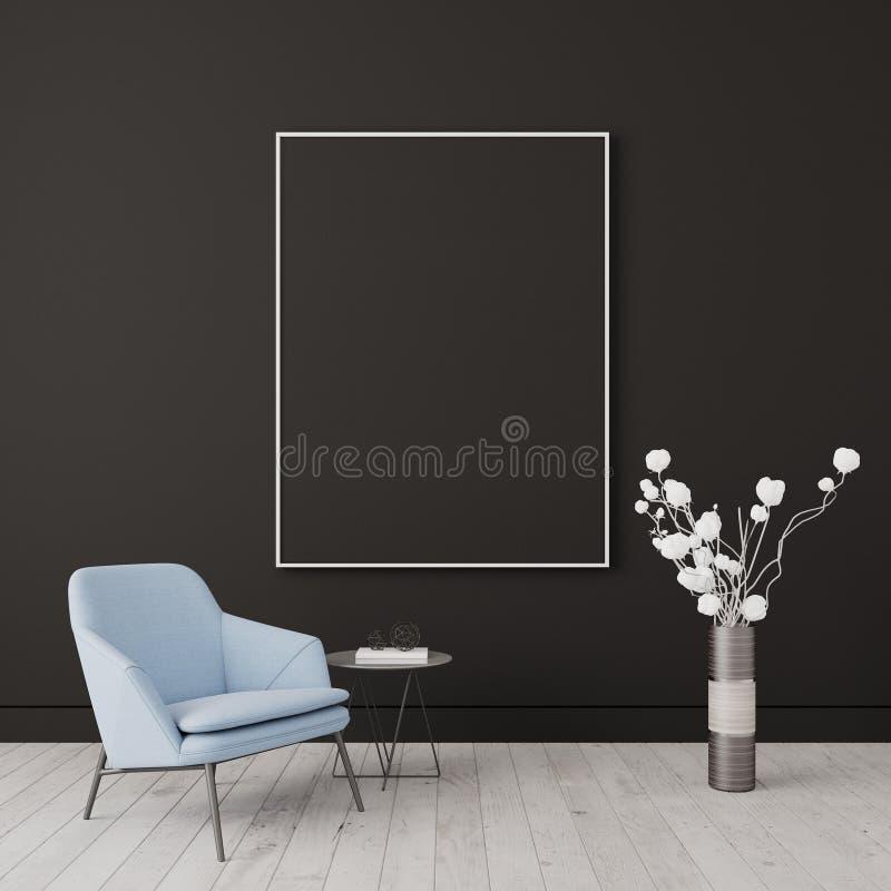 Mock up, Modern Living room, interior design 3D Render royalty free illustration