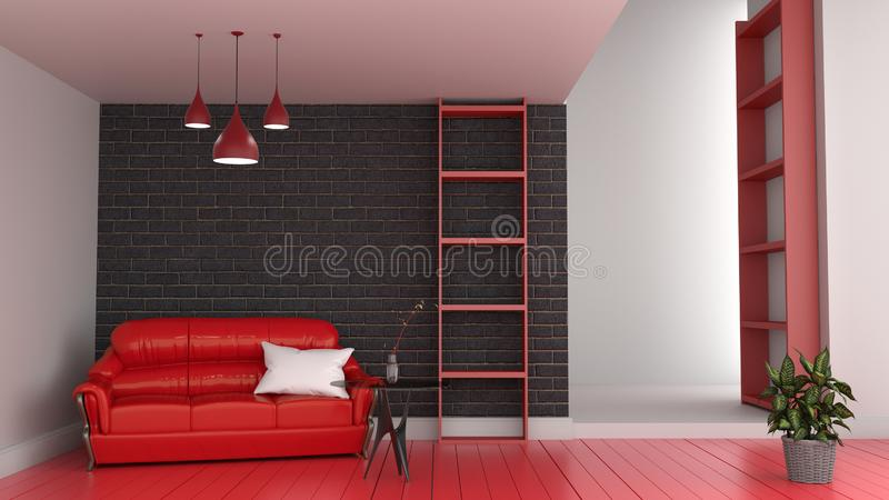 Modern red room interior, Living room with red sofa and red floor of black brick wall 3d render vector illustration