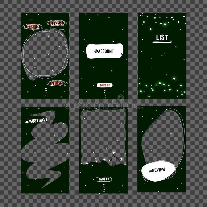 Mock up. New Year Christmas template for social network, - story. Template design for story. Editable Stories template. vector illustration