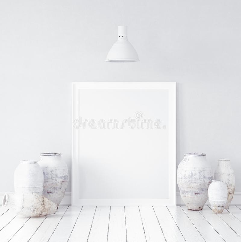 Mock-up in Nordic interior background royalty free stock image
