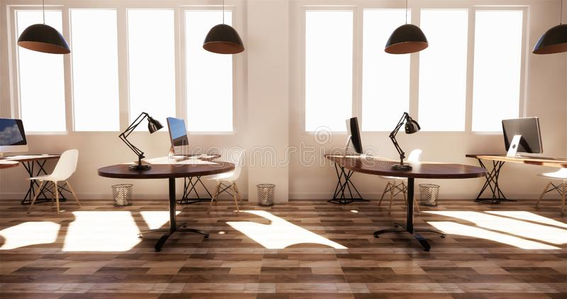 Mock up office interior with a row under large windows. Massive ceiling lamps.3D rendering. Office interior with a row under large windows. Massive ceiling lamps vector illustration