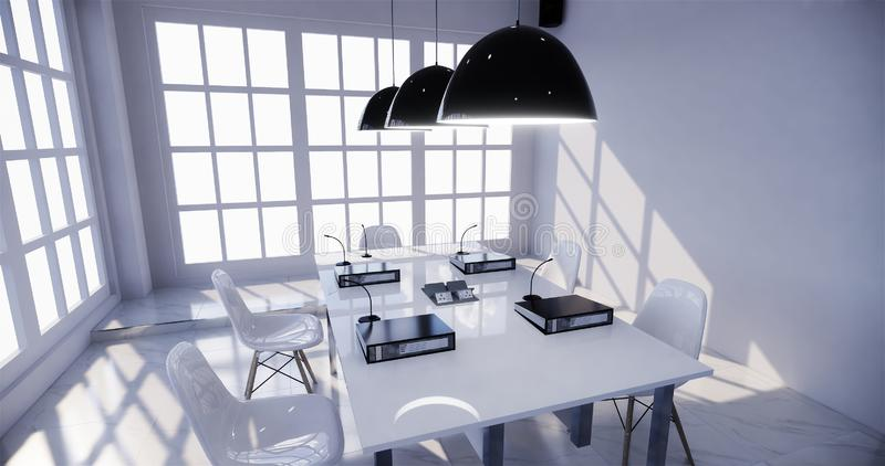 Mock up office interior with a row under large windows. Massive ceiling lamps.3D rendering. Office interior with a row under large windows. Massive ceiling lamps royalty free illustration