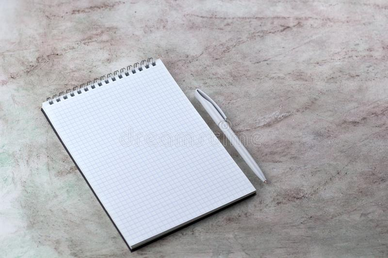 mock up open notebook blank sheet and pen stock image