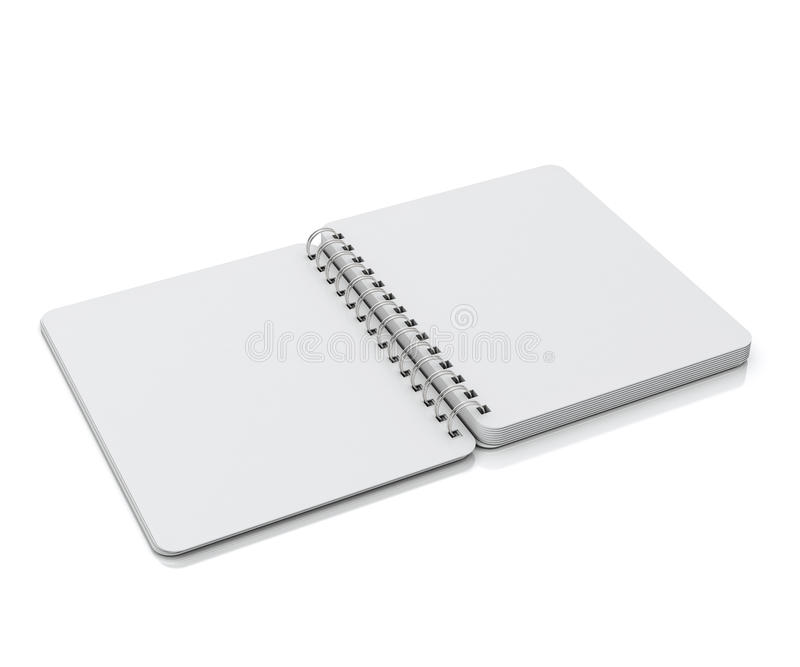 Mock up opened empty spiral notebook lying isolated on white background. Opened empty spiral notebook lying isolated on white background, template design royalty free stock photos