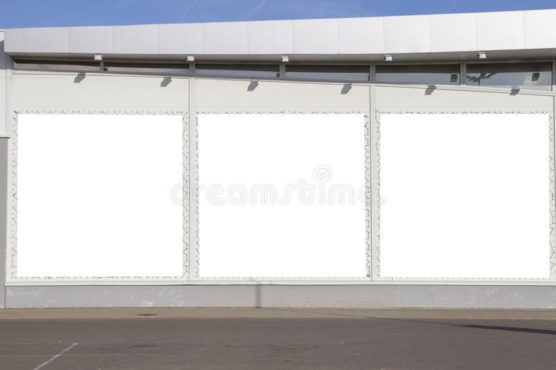 Mock up. Outdoor advertising, blank billboards outdoors on the shop or supermarket wall stock images