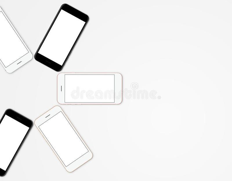 Mock-up phone mobile color set blank screen stock photo