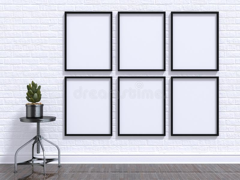 Mock up photo frame with plant, stool, floor and wall. 3D render royalty free stock photography