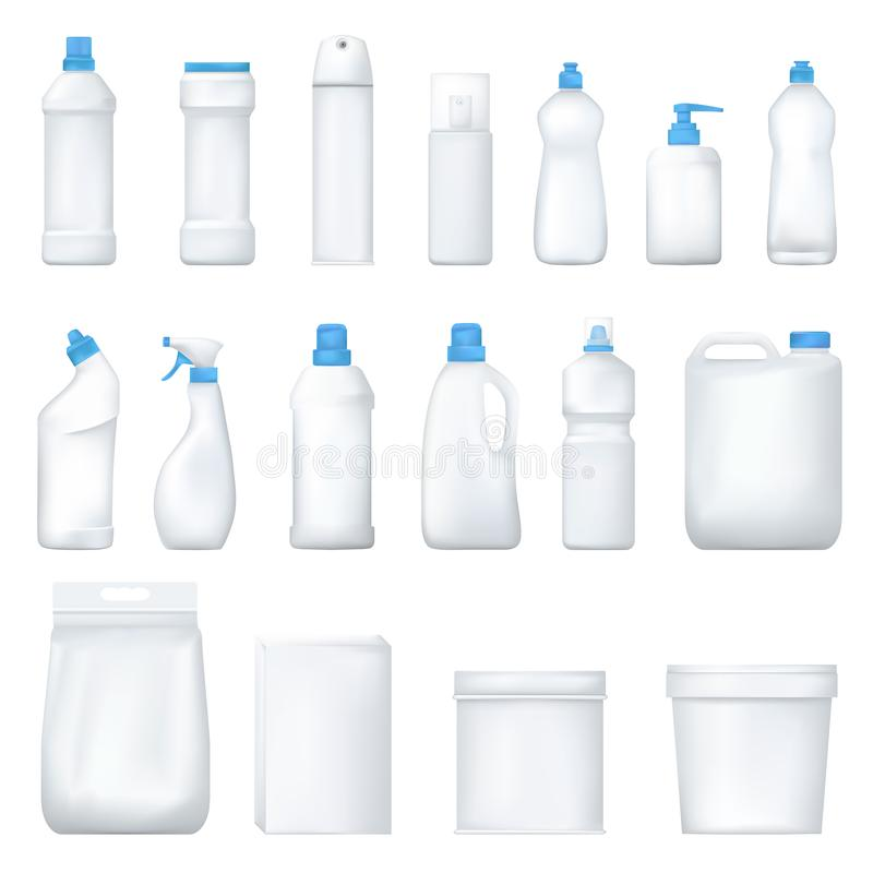 Mock up plastic bottle and packge. Set of realistic detergent product. Household chemicals. Vector. vector illustration