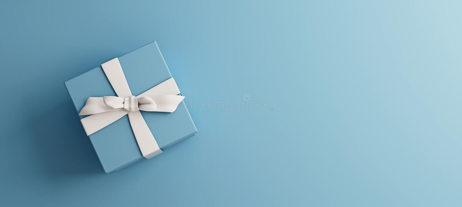 Mock-up poster, baby blue gift box with white bow on light blue background stock photo