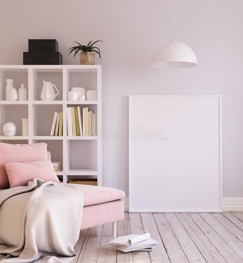 Mock-up poster background in living room interior, Scandinavian style. 3d render stock image