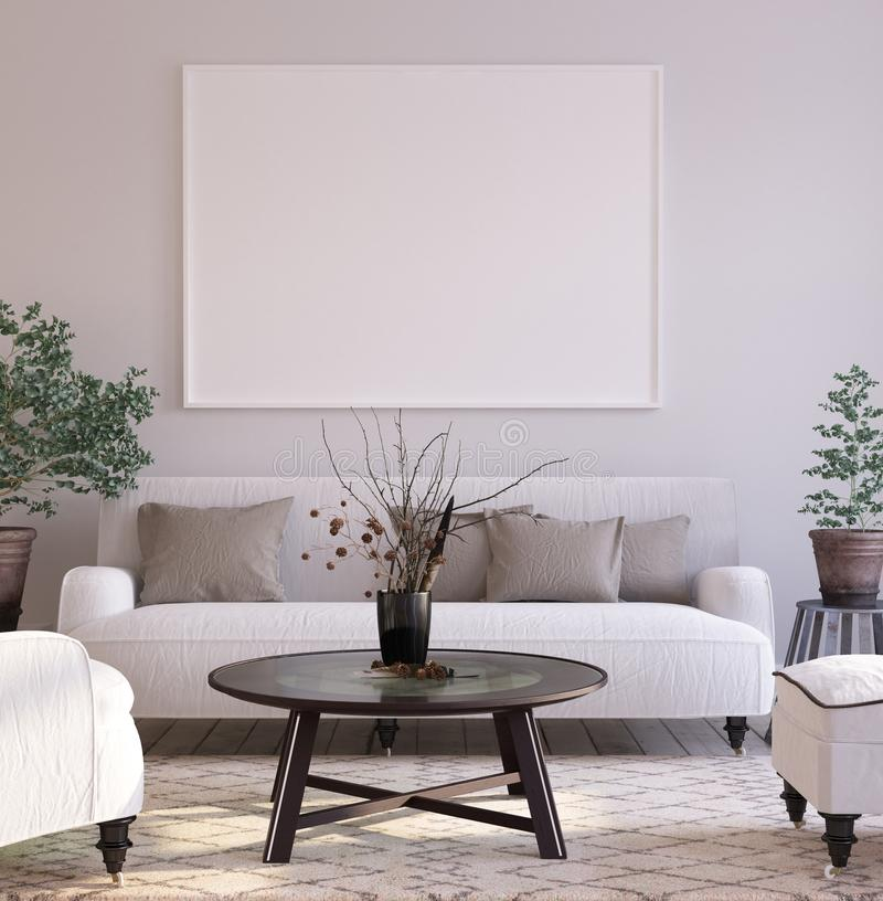 Mock-up poster background in living room interior, Scandinavian style. 3d render royalty free stock photo