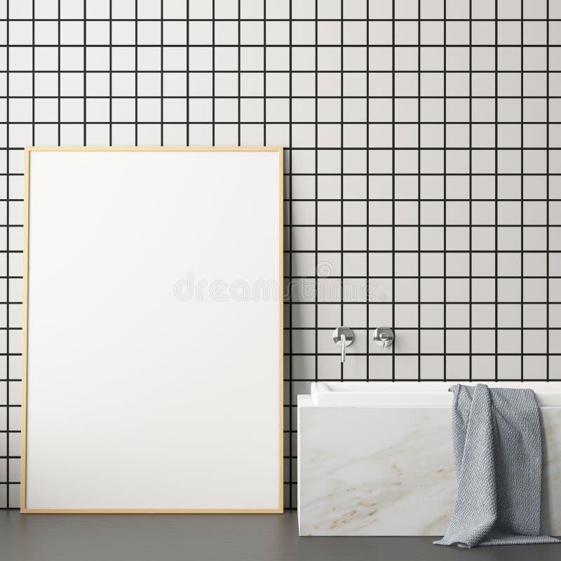 White And Black Marble Bathroom, Poster Stock Illustration