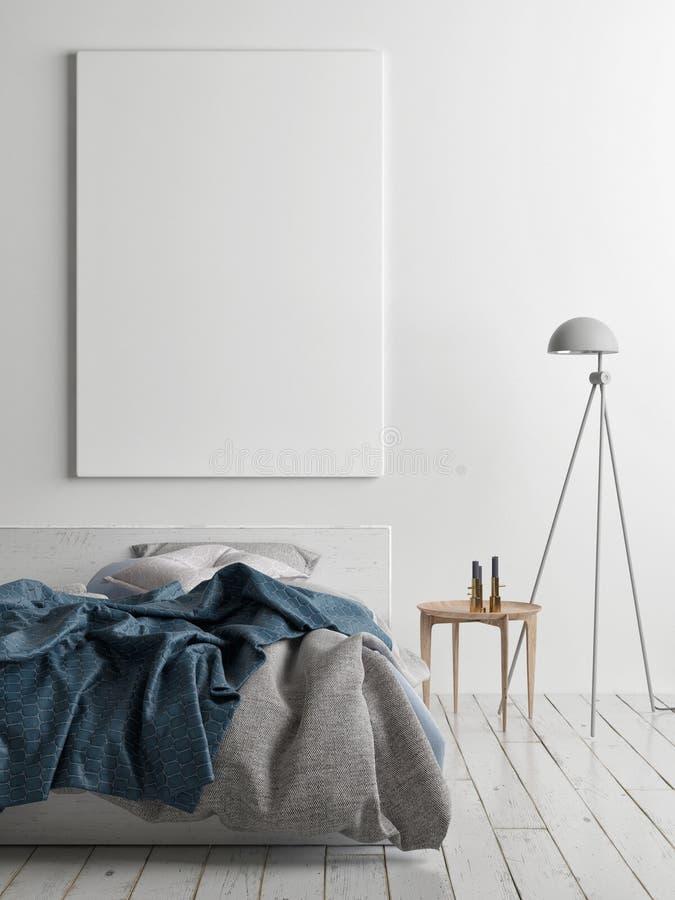 Mock up poster in bedroom. 3d render, 3d illustration royalty free illustration