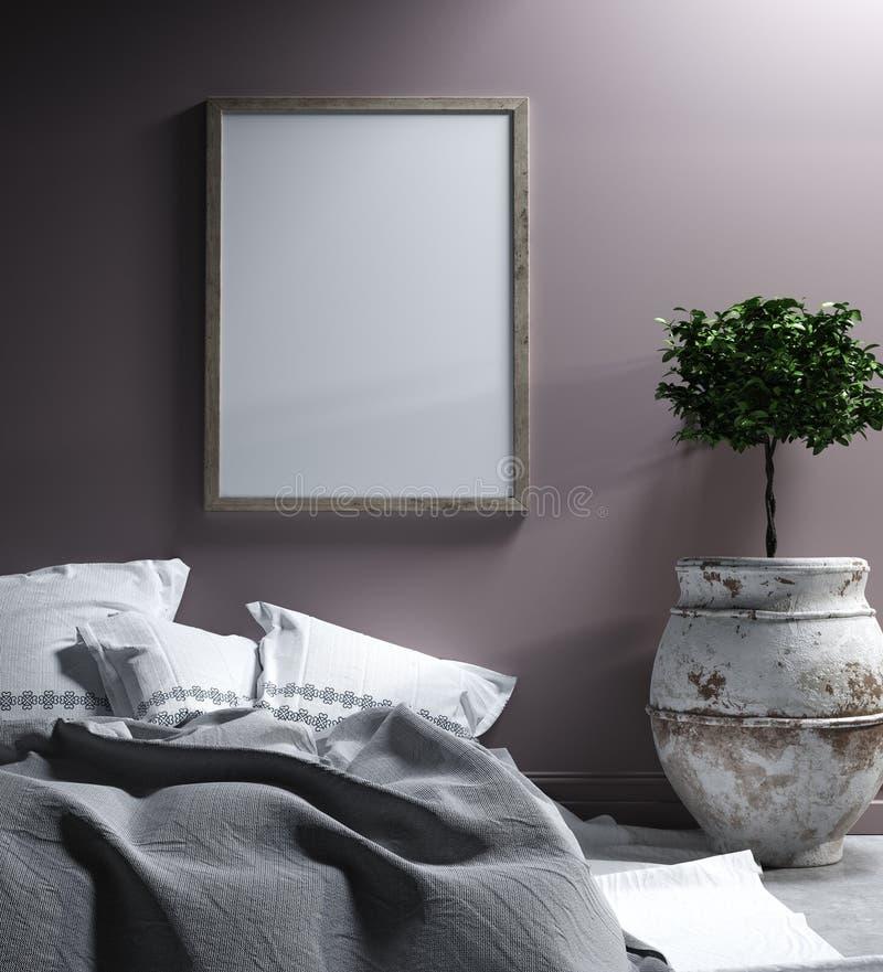 Mock up poster in bedroom interior,ethnic style. Mock up poster in bedroom interior, ethnic style, 3d render stock image