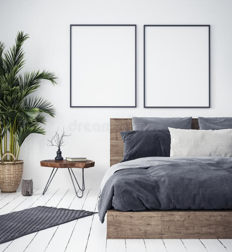 Mock up poster in bedroom interior,ethnic style stock illustration
