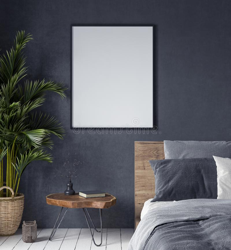 Mock up poster in bedroom interior,ethnic style stock photography