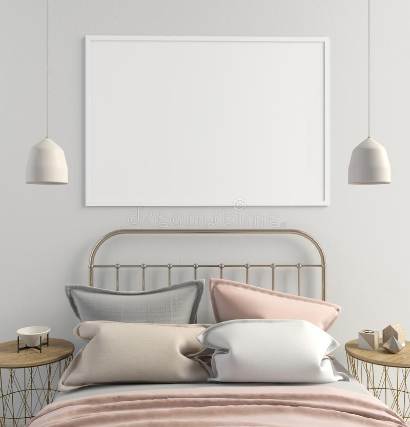 Mock up poster in bedroom interior. Bedroom Scandinavian style. royalty free illustration