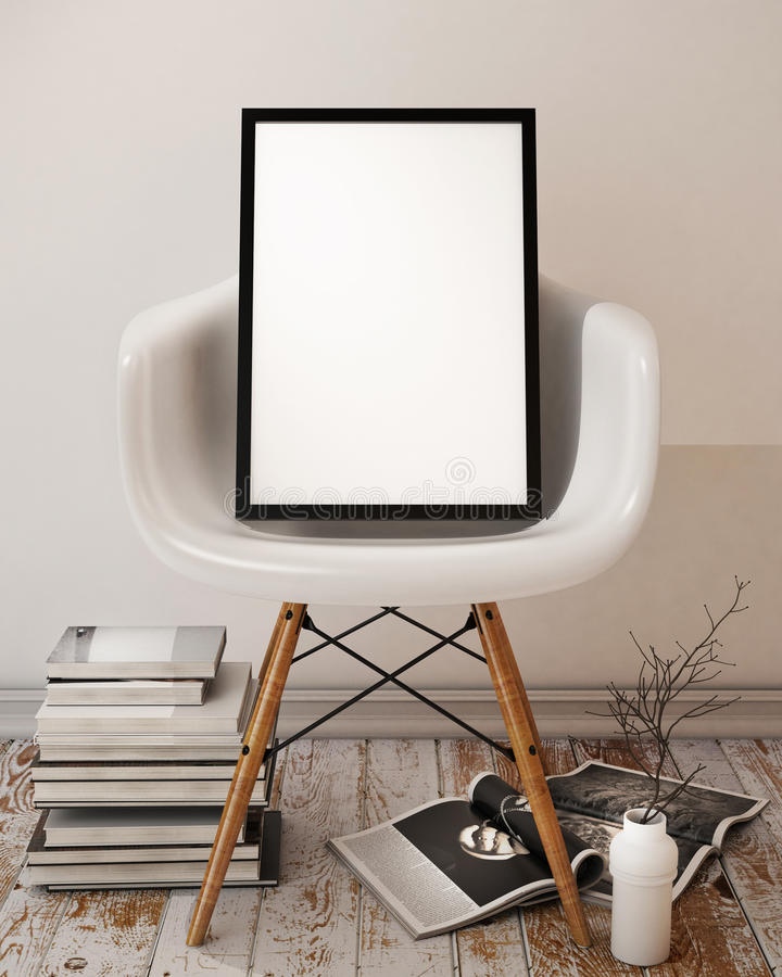 Mock up poster with black frame, interior background. Template design, 3D render stock photo
