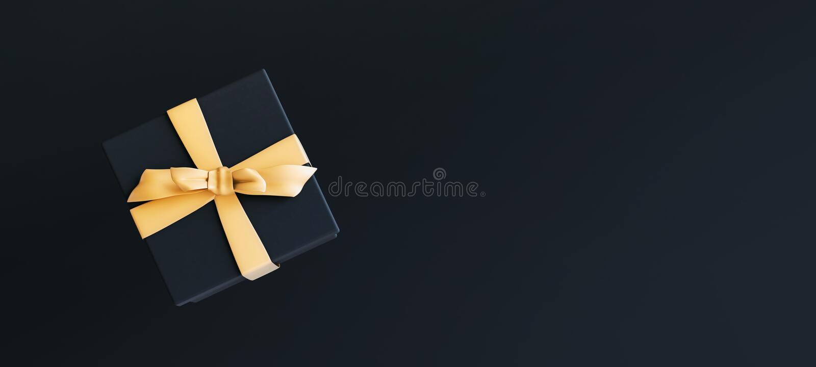 Mock-up poster, black gift box with golden bow on black background royalty free stock photo
