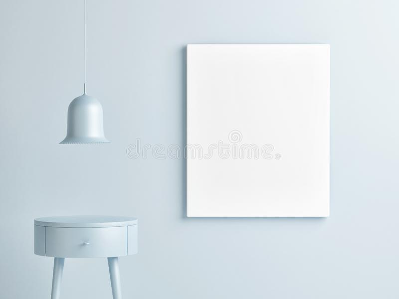 Mock up poster on blue background wall, stock photos