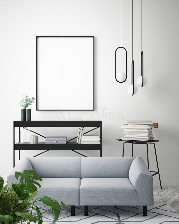 Mock up poster, blue sofa, Hipster interior background royalty free illustration