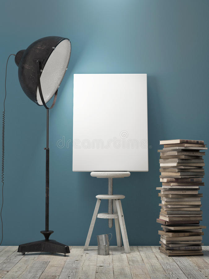 Mock up Poster on blue wall, lamp light, background. 3d illustration royalty free illustration
