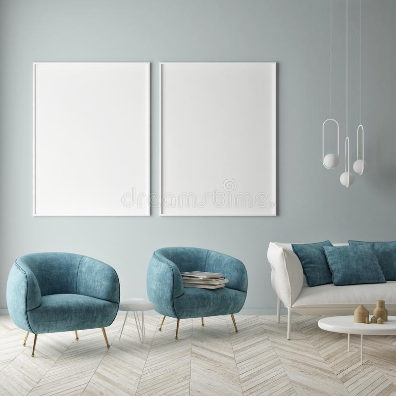 Mock up poster on the blue wall, blue living room. 3d render, 3d illustration royalty free illustration