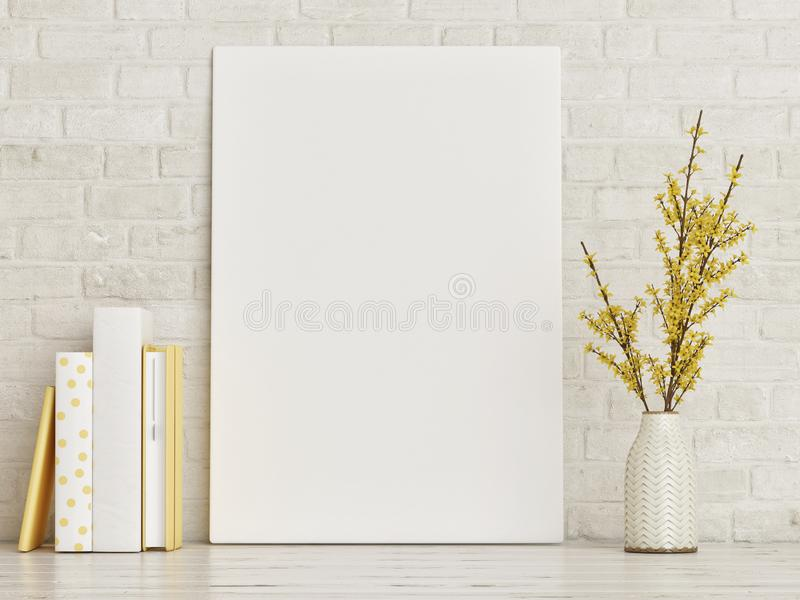 Mock up poster with books and vase composition, hipster background, royalty free stock photos