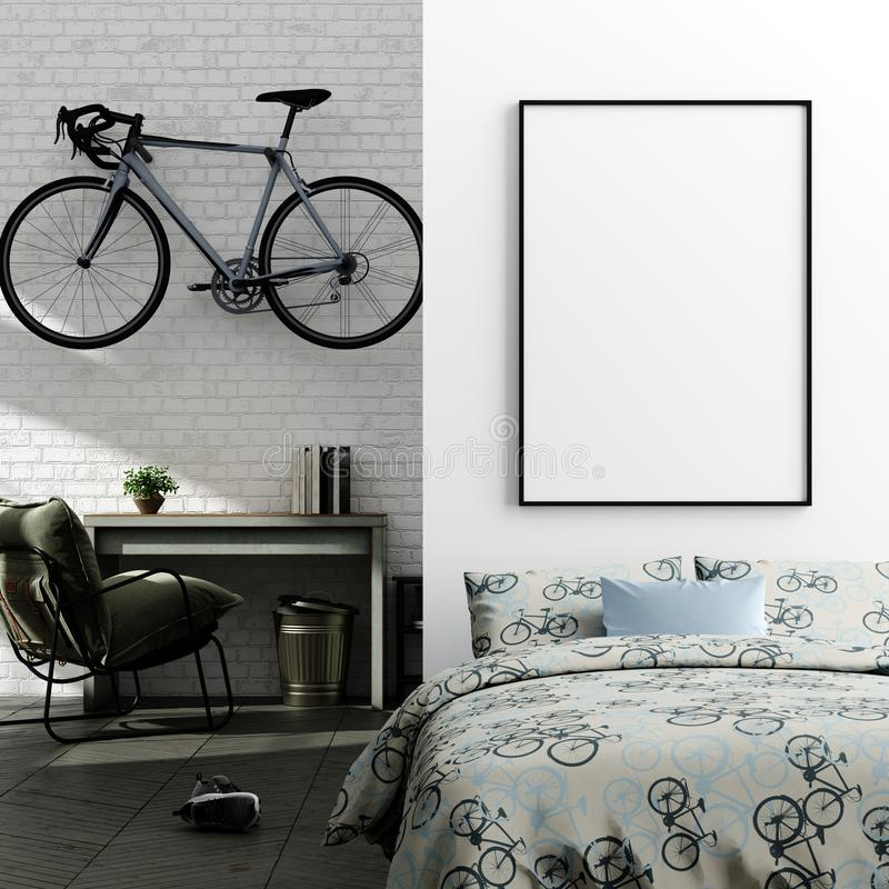Mock up poster in boy teenage bedroom interior background, industrial style. 3d render royalty free stock photos
