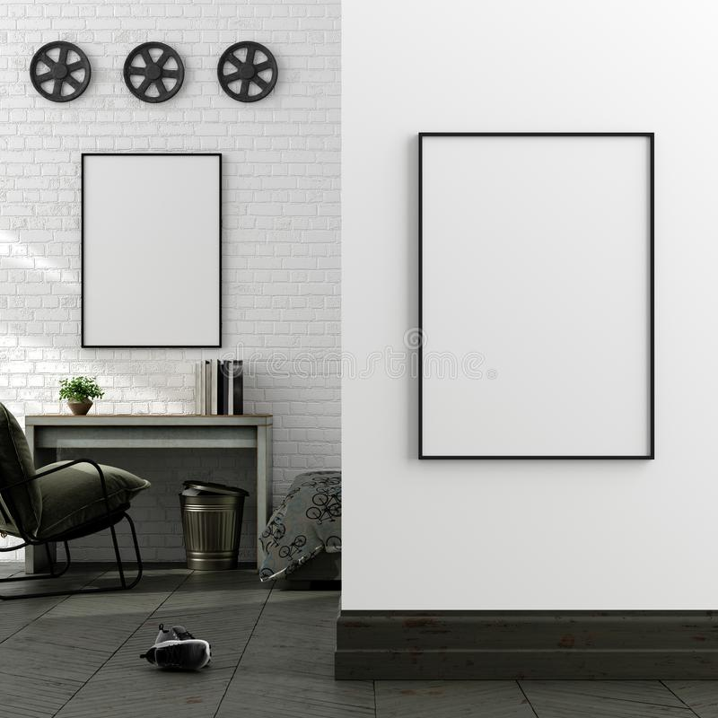 Mock up poster in boy teenage bedroom interior background, industrial style. 3d render stock photo