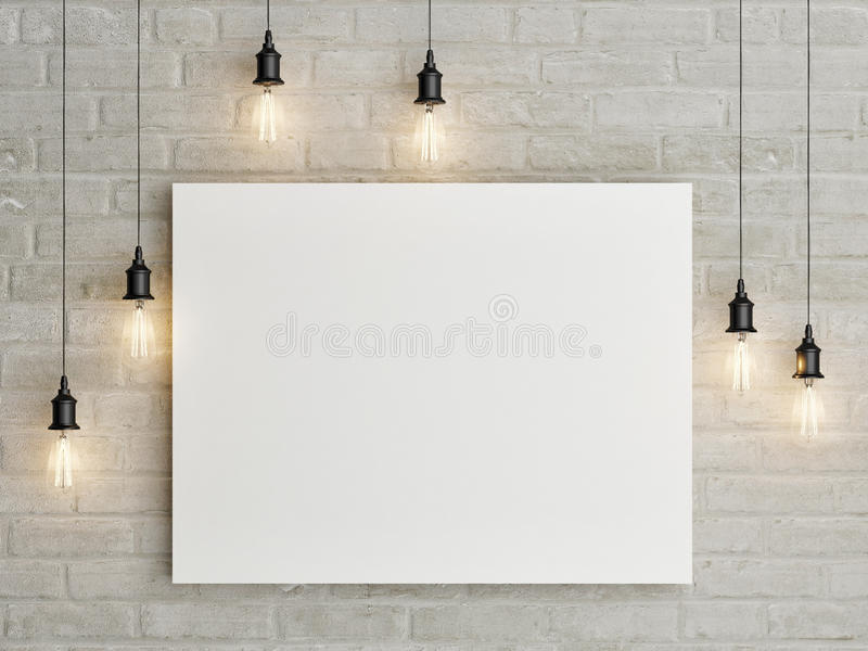 Mock up poster with ceiling lamps, 3d illustraton royalty free stock images