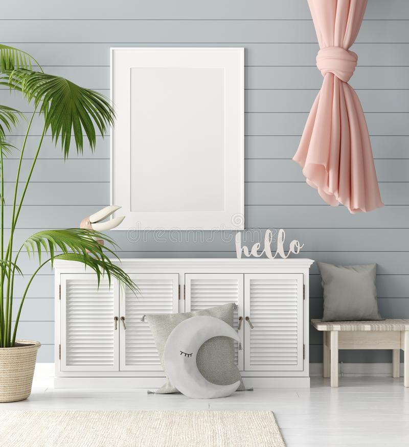 Mock up poster in children room background, pastel color room with natural wicker and wooden toys. 3d render vector illustration