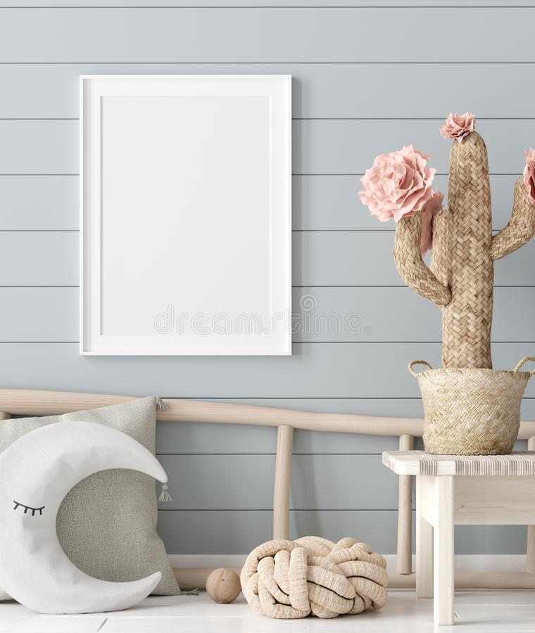 Mock up poster in children room background, pastel color room with natural wicker and wooden toys. 3d render royalty free illustration