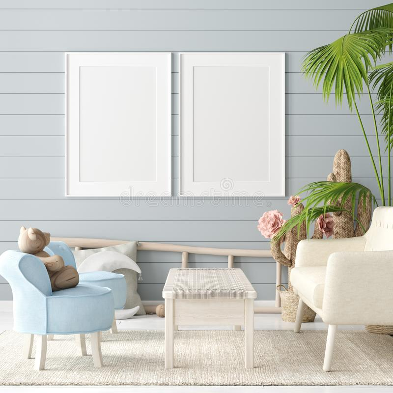 Mock up poster in children room background, pastel color room with natural wicker and wooden toys. 3d render stock illustration