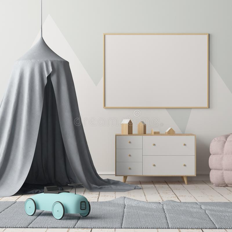 Mock up poster in the children`s bedroom with a canopy. Scandinavian style. 3d stock illustration