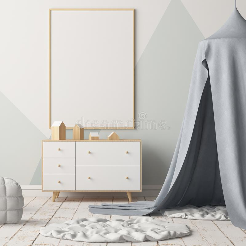 Mock up poster in the children`s bedroom with a canopy. Scandinavian style. 3d vector illustration