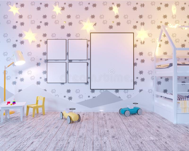 Mock up poster children`s color room, with light bulbs. 3d illustration studio, template, up, wall, white stock illustration