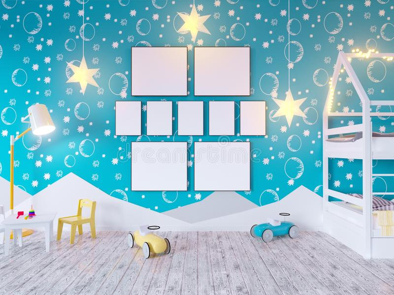 Mock up poster children`s color room, with light bulbs. 3d illustration studio, template, up, wall, white royalty free illustration