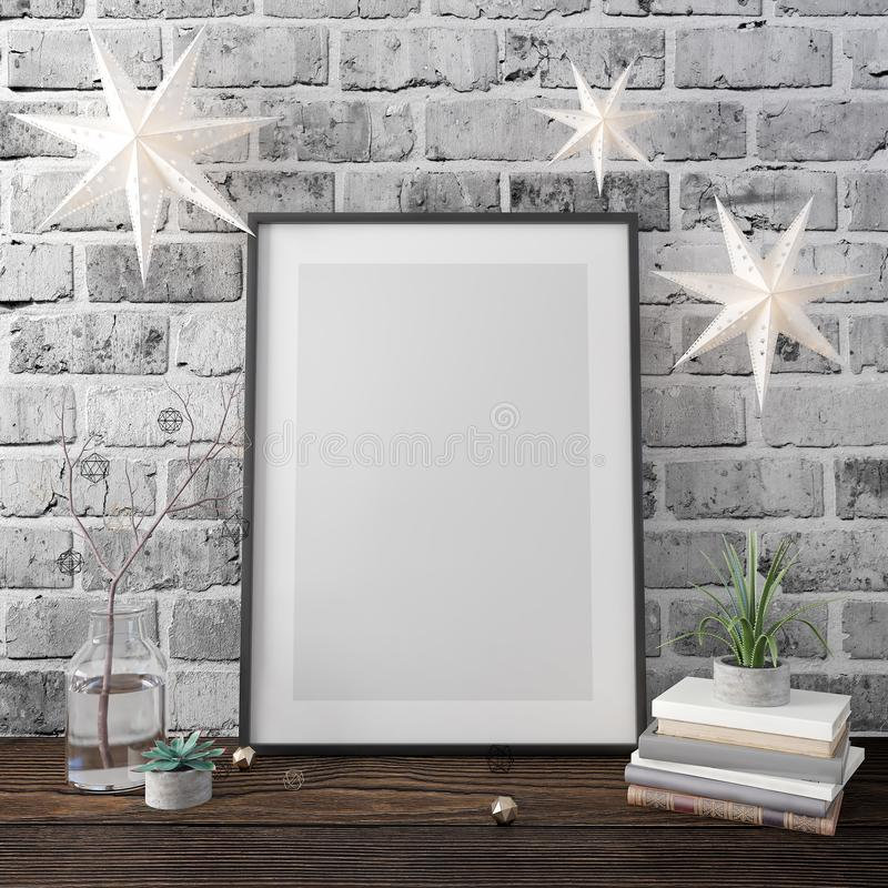 Mock up poster,Christmas decoration, new year, 3d render. 3d illustration royalty free stock images