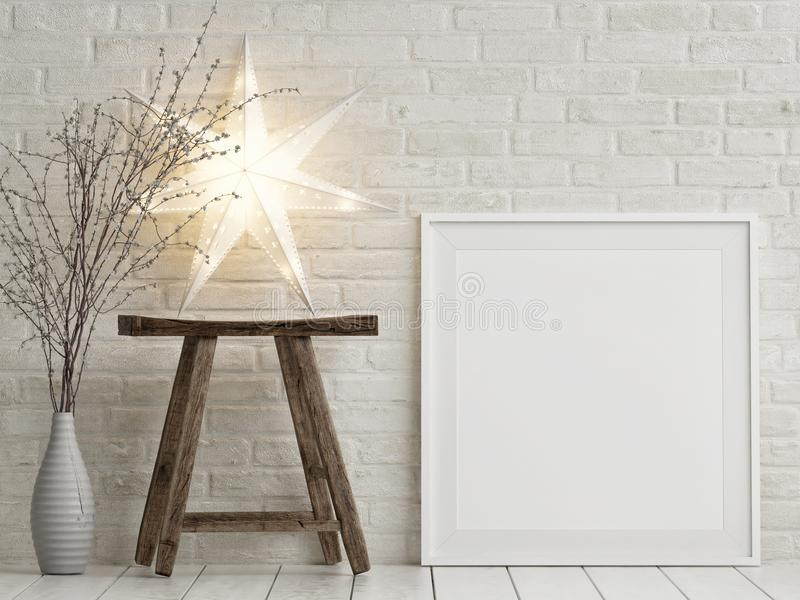Mock up poster Christmas decoration, wooden chair and stars, vector illustration