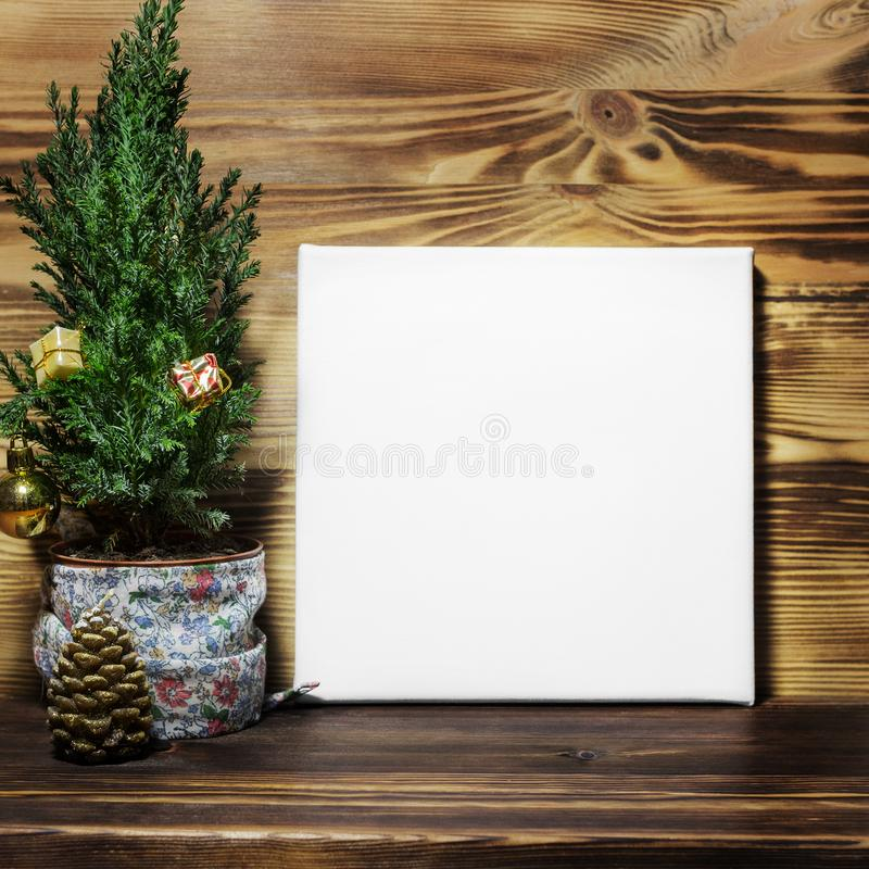 Mock up poster in Christmas interior. stock photography