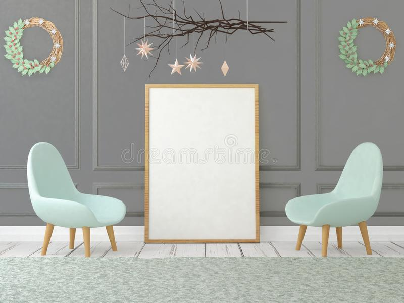 Mock up poster in christmas interior. 3d illustration.3d render royalty free illustration