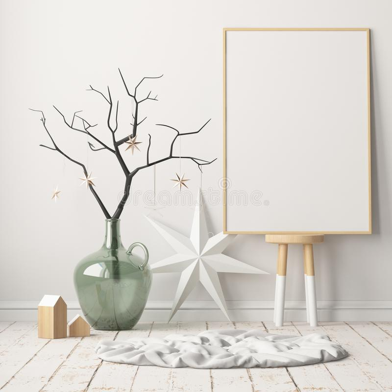 Mock up poster in the Christmas interior in Scandinavian style. 3D rendering stock illustration