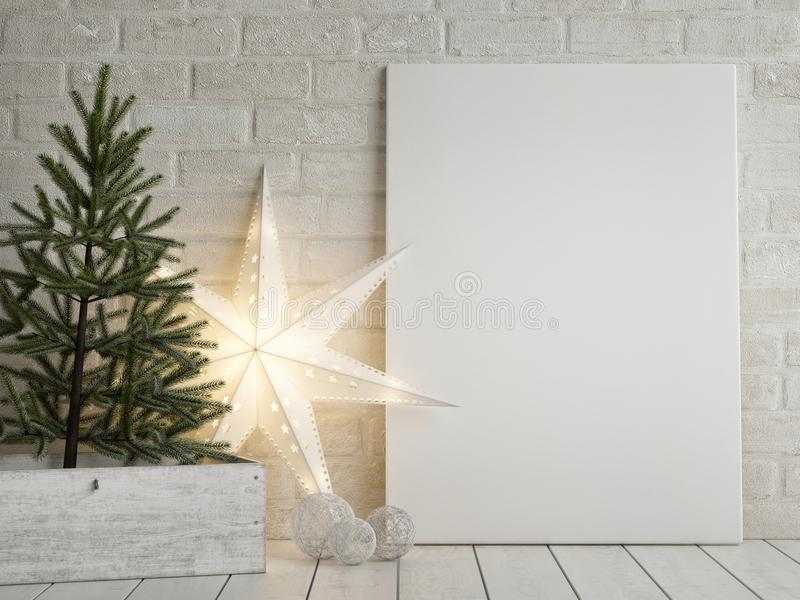 Mock up poster, Christmas tree and light star decoration royalty free illustration
