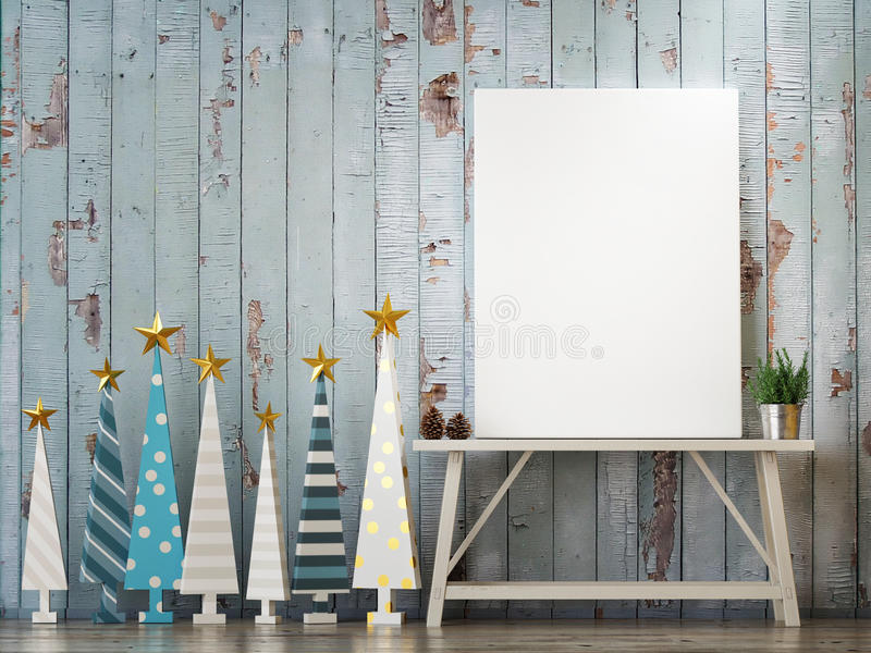 Mock up poster with Christmas trees concept. 3d render royalty free illustration