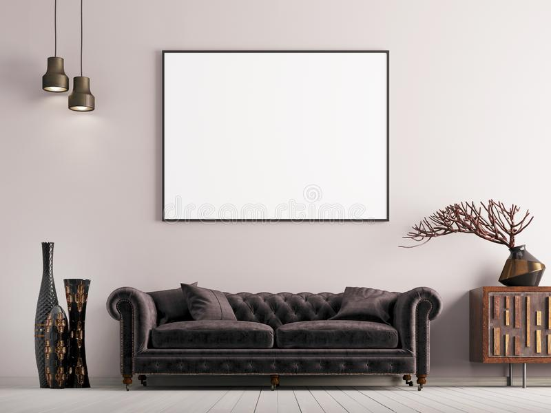 Mock up poster in classical style interior with brown sofa and plant. royalty free illustration