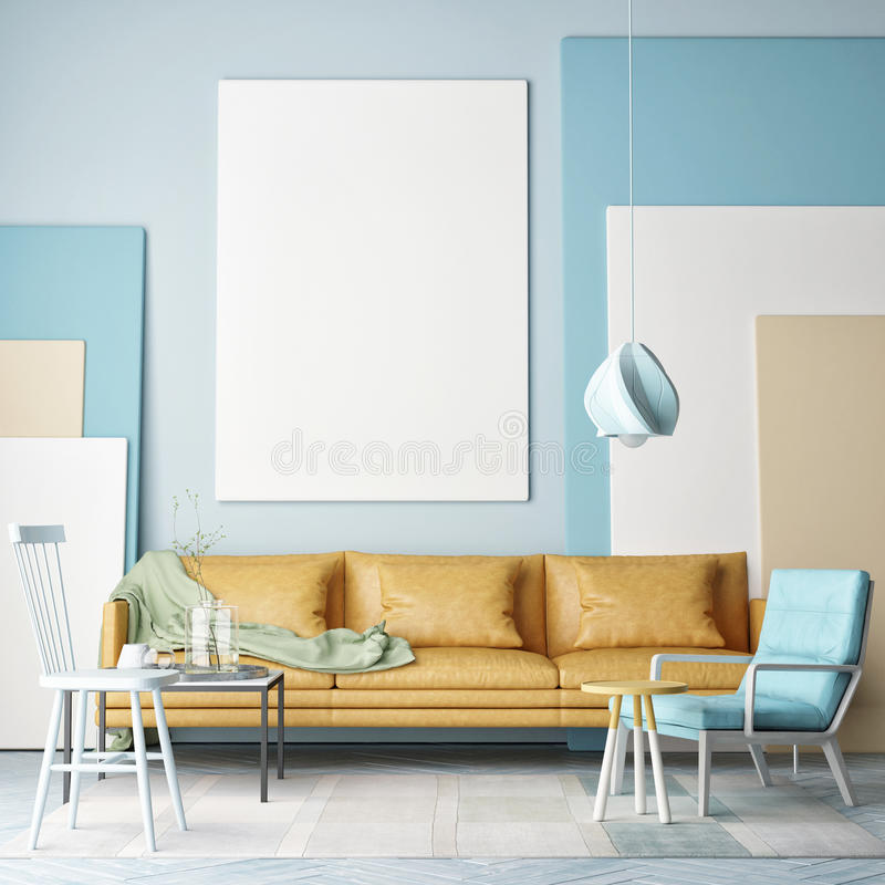 Mock up poster, colorful composition in room, vector illustration